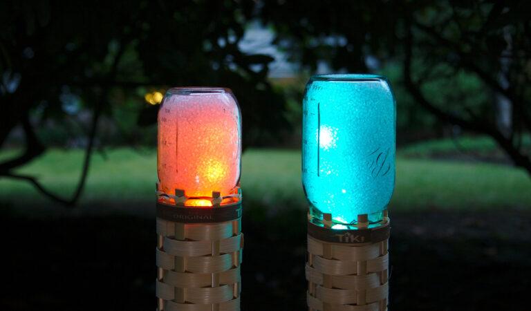 Mason Jar LED Tiki Torches Glow Any Color